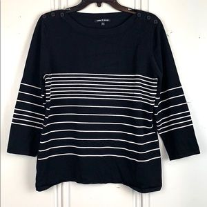 4/$20 Cable & Gauge Striped 3/4 Sleeve Sweater